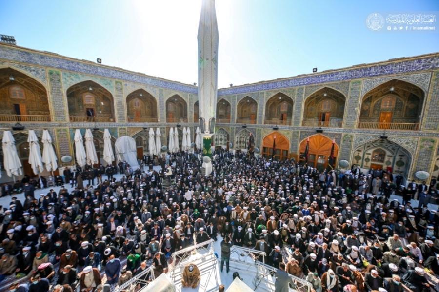 الحوزة العلمية تودع آية الله السيد رضي الدين المرعشي بتشييع مهيب في مرقد أمير المؤمنين (عليه السلام) + صور