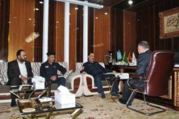Committee Chairman of Relieving the Displaced in Furat Al-Awsat Looks with the Deputy Secretary General of Imam Ali Holy Shrine the Program achieved for Serving and Sheltering the Displaced People.